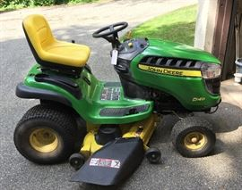 "John Deere Tractor/Mower.  22.0 HP  with a 42"" deck.  Super clean and only has 42 Hours!!!  Also have a set of chains for tires available for this."