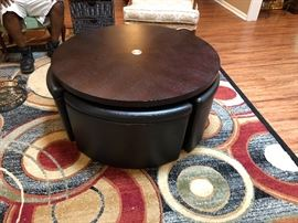 Very cool adjustable round game table and 4 wedge chairs