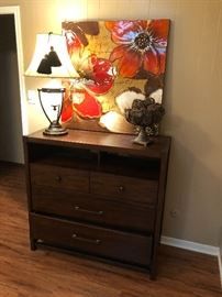 Nice Chest/Media cabinet, wall art