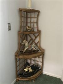 Rattan corner shelf 60 tall