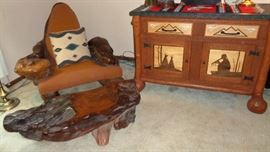 Custom Made Western Chair & Buffet.. Chair is Redwood with a petrified wood insert in the one armrest. The buffet is one of a kind handmade & hand carved.