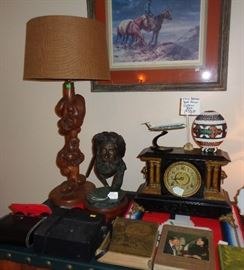 Burlwood Table Lamp made by Same artist as Buffet
