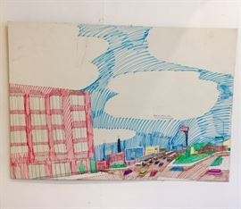 "Art work drawn by Wesley Willis, ""This is the Chicago Skyline"" 1998"