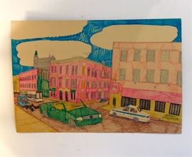 "Art work drawn by Wesley Willis ""Damen and Concord"" 1995 Mixed media on artist board. 42w x 28h (approx) ****SOLD***+"