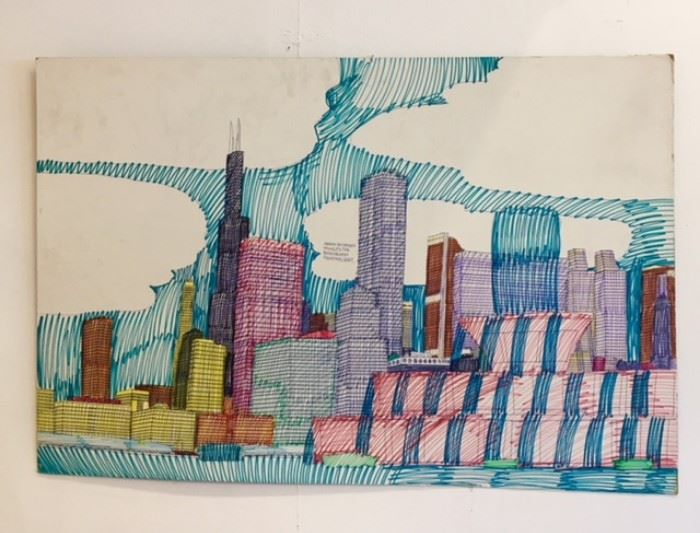 "Art work drawn by Wesley Willis art work ""Buckingham Fountain"" 1997 ***SOLD*****"