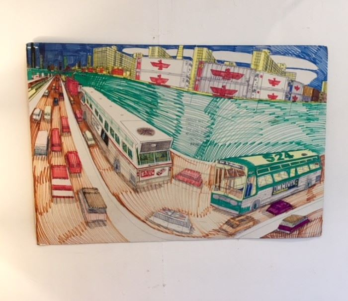 "Art work drawn by Wesley Willis, ""The Dan Ryan Expressway 35th St"" 1996 ****SOLD****"
