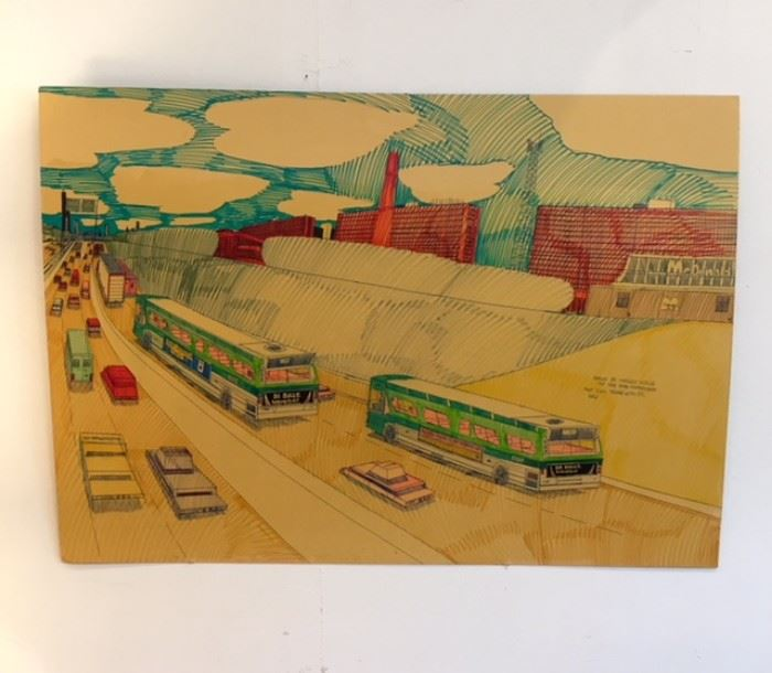"Art work drawn by Wesley Willis of ""The Dan Ryan Expressway Past 51st Toward 47th St"" 1992"