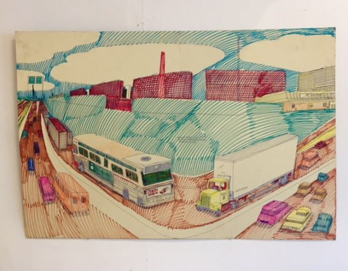 "Art work drawn by Wesley Willis, ""It's the Dan Ryan Expressway Looking Toward 47th St"" 1997 *****SOLD******"