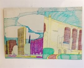 "Art work drawn by Wesley Willis of ""It's the Shoreline"" 1997 and ""It's the Rockefeller Chapel"" 1997"