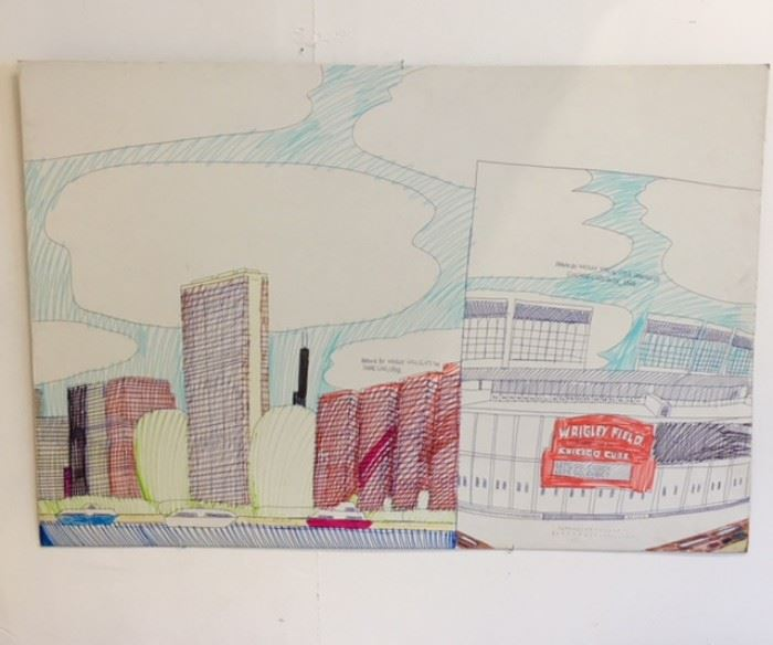 "Art work drawn by Wesley Willis of ""It's the Shoreline"" 1998 and ""Chicago Cubs Park"" 1998"