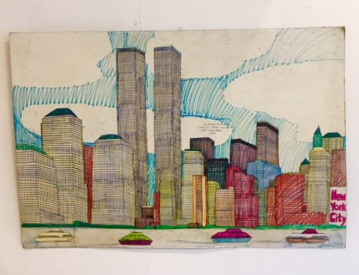 "Art work drawn by Wesley Willis of ""World Trade Center New Year"" 1996"