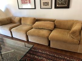 Thayer Coggin Designed by Milo Baughman Pair of Sectional sofa's South Road, High Point North Carolina. Rug and Table are not for sale.