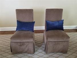 Pair of Brown Slipper Chairs, 21w x 22d x 39h (19sh)