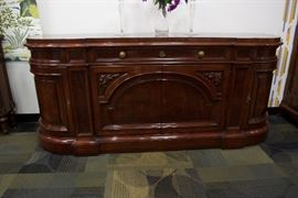 A Regency/Louis XVI Style Buffet, mahogany solids.  By Karges Furniture co.  (Appraised $6,500).  For Sale: $1,600.