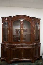 A Regency/Louis XVI Style breakfront, mahogany solids.  By Karges Furniture Co.  (appraised: $13,500) For Sale: $3,400.