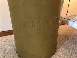 Antique Metal Milk Canister - Orleans Nebr