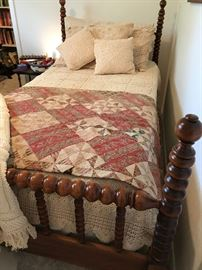 Vintage twin bed frame with slats.  $125.