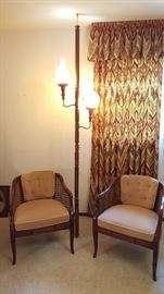 1960s floor lamp & pair of tufted back cane chairs