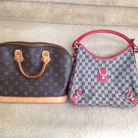 Authentic Louis Vuitton and Gucci handbags