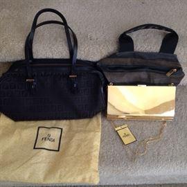 Fendi handbags.  Beautiful gold metal Fendi evening bag!