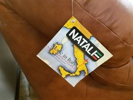 "Fine leather sofa by Natali, made in Italy.  Over-stuffed and cushy, with high back, in perfect condition.  Approx. 85"" wide, back of sofa is 30"" high."