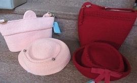 1940s  & 1950s Matching Handbag  & Hat sets , vintage and Victorian hats
