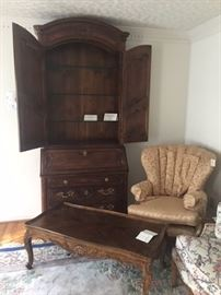 Villandry secretary, coffee table and side chair