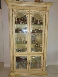 love this china hutch, nice set of china & misc, some silver plate and few pieces of sterling