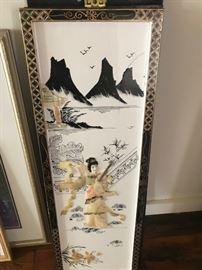 vintage asian scene panel