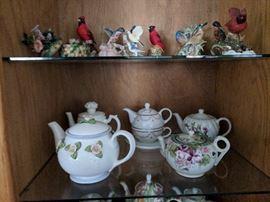 Vintage Porcelain Birds; Vintage Floral Teapots;