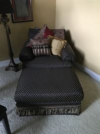 Black and gold oversized chair w/ottoman and accent pillows