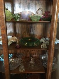 Interior oak china cabinet, collectible glass Some glass pieces still available