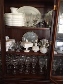 Lots of Milk glass and etched goblets. Some still available