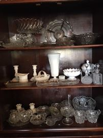 Cut glass, milk glass and other great collectible glass. Some glass pieces still available