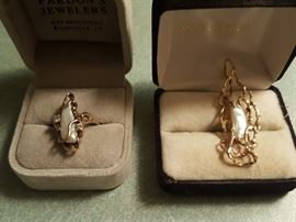 Tennessee Pearls Set in Gold. Ring on left, Pendant on right.