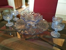 Depression Glassware: 1940's,  Swirled Caprice, Ice Blue.  Beautiful Large Bowl, Platter, Four Sherbets!