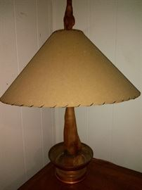 Vintage Driftwood Lamp With Animal Skin Shade