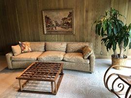 Dunbar sofa, teak coffee table in den