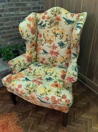 Floral orange chair