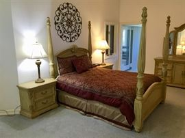 Master bedroom set - queen size four poster bed. Bedding and mattresses not included in the sale.
