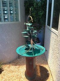 6 Ft. Brass fountain - beautiful patina- works