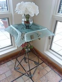 Hand Welded Spade Welded Accent Table With Blown Glass Top