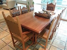 Carved Medieval Style Dining Room Table With 6 Chairs (2 Have Side Arms)