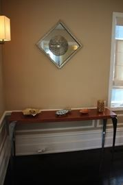 Console Table with Decorative Mirrored Wall Plaque