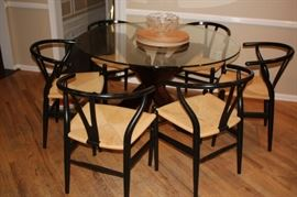 Mid-Century Modern Round Glass Table and 6 Wegner Chairs