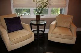 Pair of Upholstered Easy Chairs with Round Occasional Table and Potted Plant
