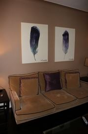 Sofa, Accent Pillows and Pair of Art
