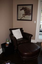 Nail Head Chair with Matching  Ottoman, Side Table and Art
