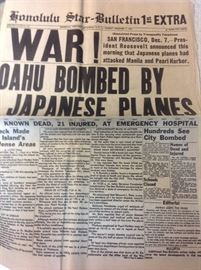 Original December 7, 1941 Honolulu Star Bulletin