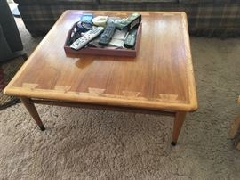 Unique square coffee table, two-toned